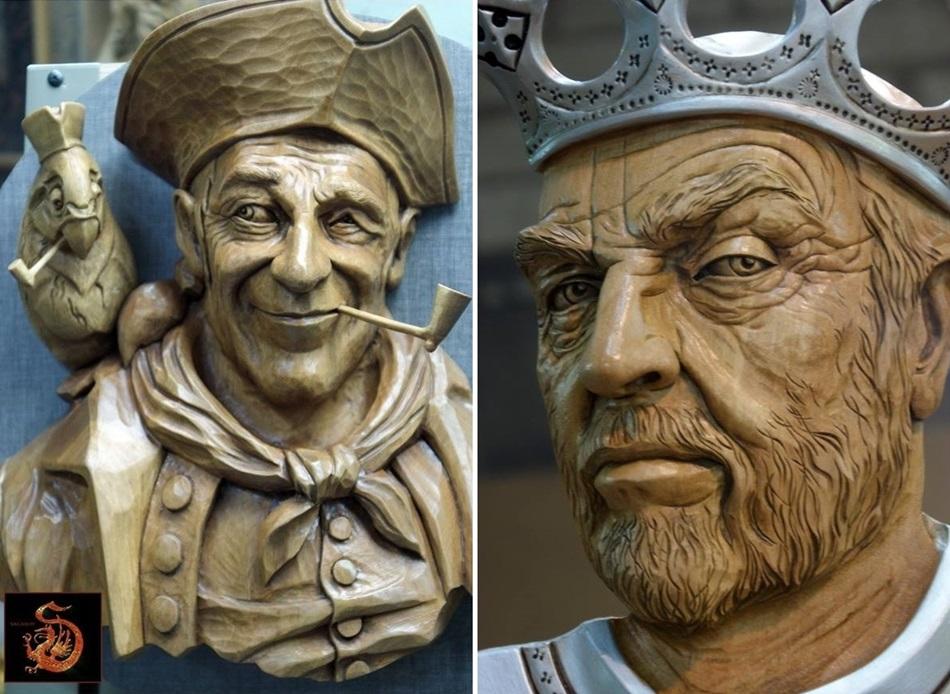 Impressive carved wood and bone figures by Andrey Sagalov - 15