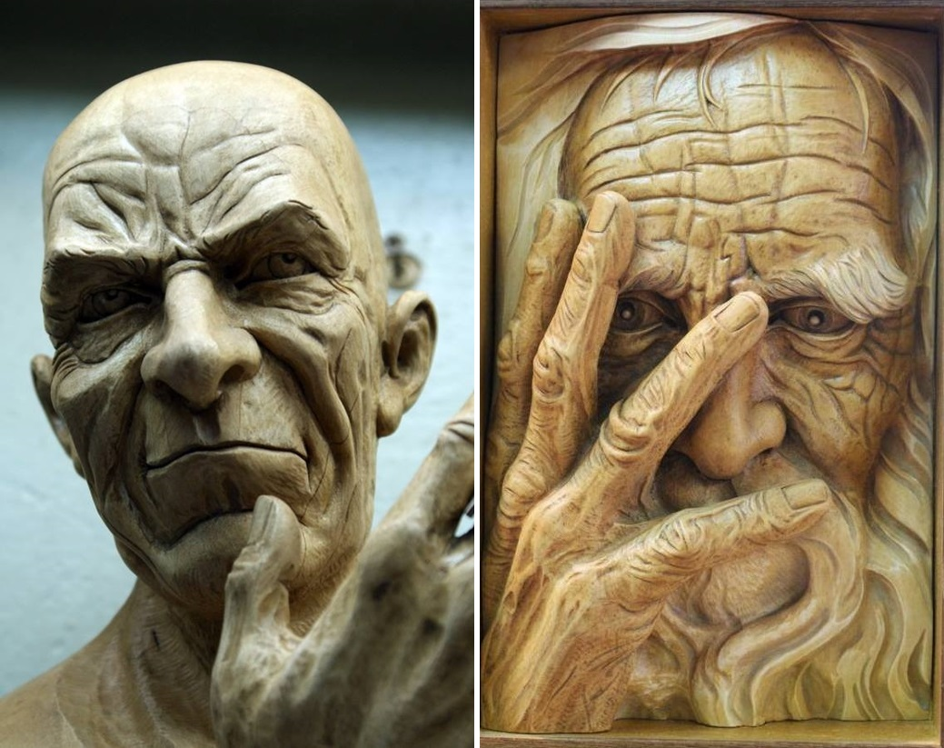 Impressive carved wood and bone figures by Andrey Sagalov - 9