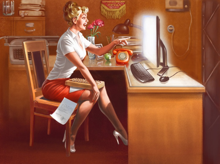 Pictures and Soviet posters in Pin-Up style by Valery Barykin - 12