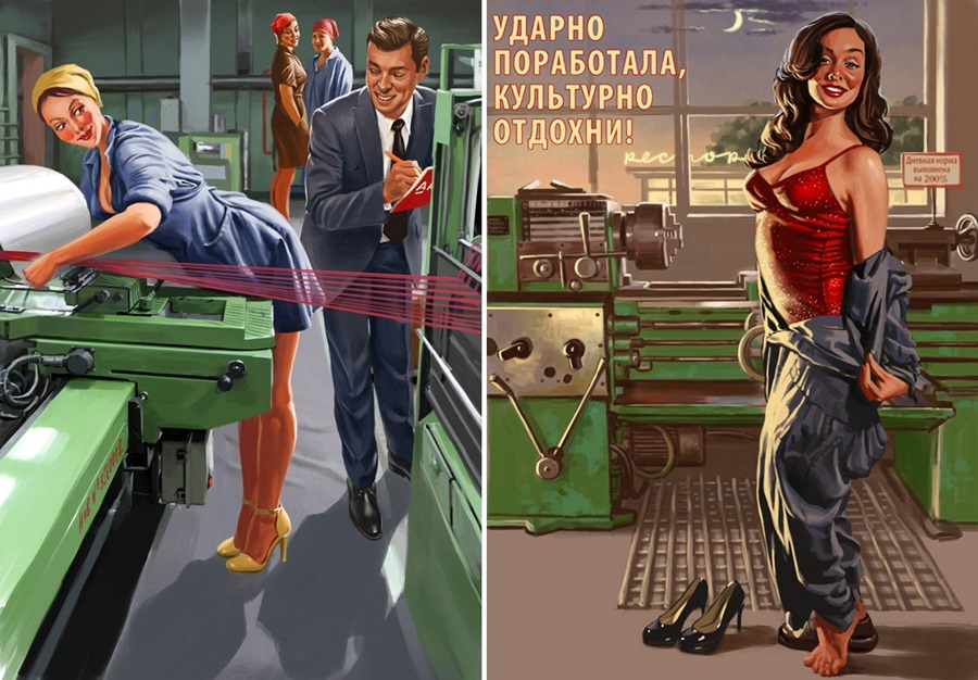 Pictures and Soviet posters in Pin-Up style by Valery Barykin - 17