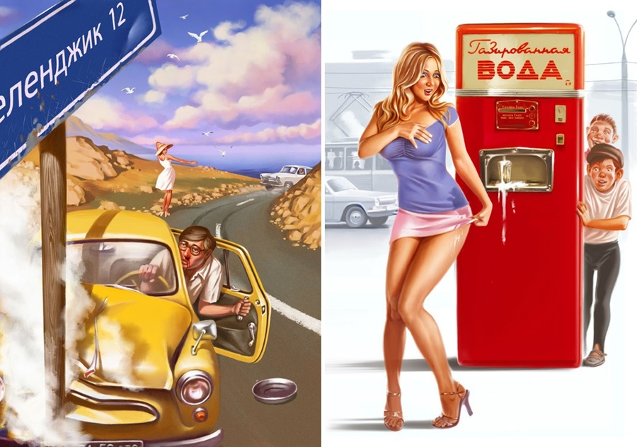 Pictures and Soviet posters in Pin-Up style by Valery Barykin - 20