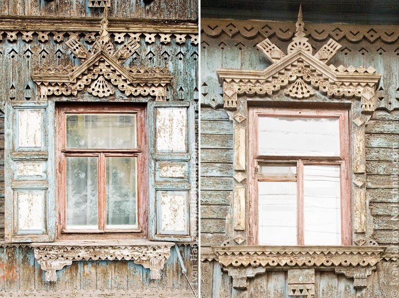 Traditional Russia: Fabulous hand-carved wooden window frames - 37