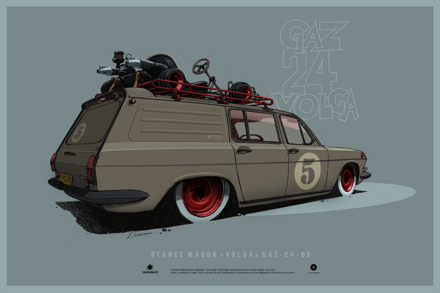 Concepts of Soviet cars on pictures - Stance Wagon VOLGA GAZ-24-02