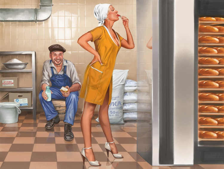 Pictures and Soviet posters in Pin-Up style by Valery Barykin - 14