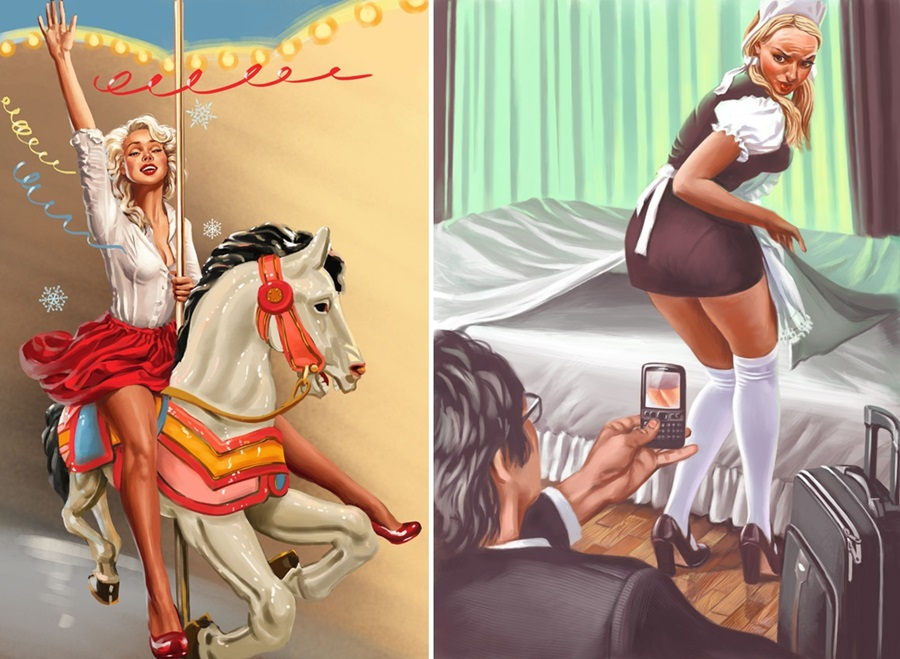 Pictures and Soviet posters in Pin-Up style by Valery Barykin - 28
