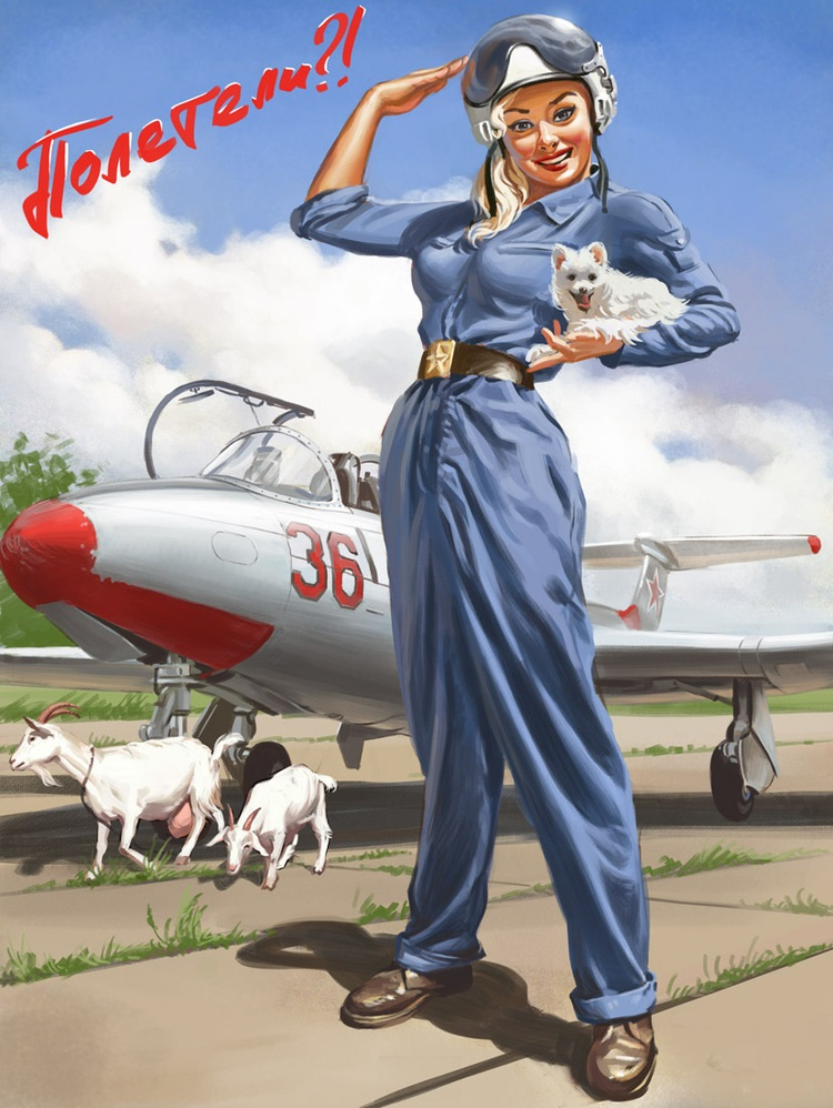 Pictures and Soviet posters in Pin-Up style by Valery Barykin - 3