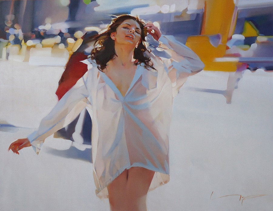 good morning beautiful woman paintings by alexey chernigin 1